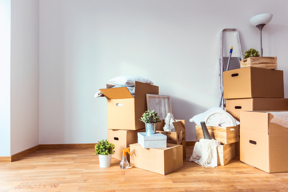 packed boxes piled up ready to move house